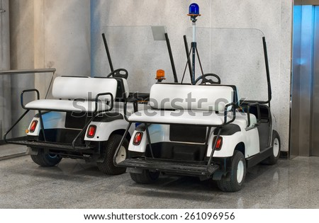 Maintenance personnel cars at the airport. - stock photo