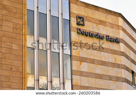 MAINZ,GERMANY- FEB 21:DEUTSCHE Bank on February 21,2015 in Mainz, Germany.Deutsche Bank AG is a German global banking and financial services company with its headquarters in Frankfurt.