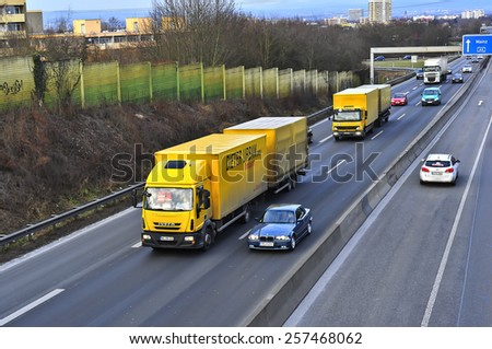 MAINZ,GERMANY-FEB 20:IVECO truck on the highway on February 20,2015 in Mainz,Germany.IVECO is an Italian industrial vehicle manufacturing company based in Turin, Italy - stock photo
