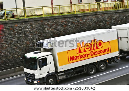 MAINZ, GERMANY - FEB 09:Netto Marken-Discount truck on the highway on February 09,2015 in Mainz, Germany  Netto Marken-Discount is a German supermarket chain.