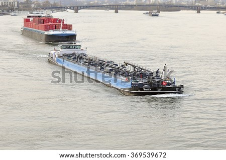 MAINZ, GERMANY - JAN 28: Barges  on the Rhine  on January 28, 2016 in Mainz, Germany.