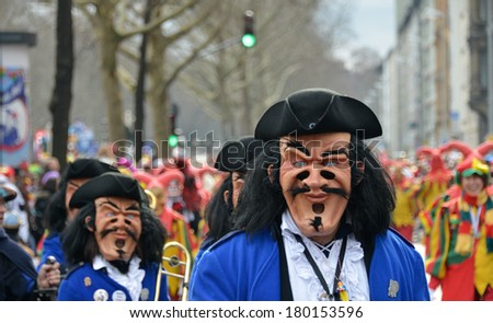MAINZ, GERMANY - MARCH 3: The Rosenmontagszug (Rose Monday Parade) moves through the city March 3, 2014 in Mainz, Germany. The Rose Monday parade is the peak of the annual German Carnival season.
