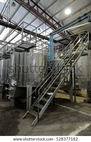 MAIPO VALLEY, CHILE - NOVEMBER 25,2014: Fermentation in stainless steel vats for wine at the winery Santa Rita.