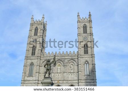Maisonneuve statue facing Basilica Notre Dame, Montreal's Old Port district - stock photo