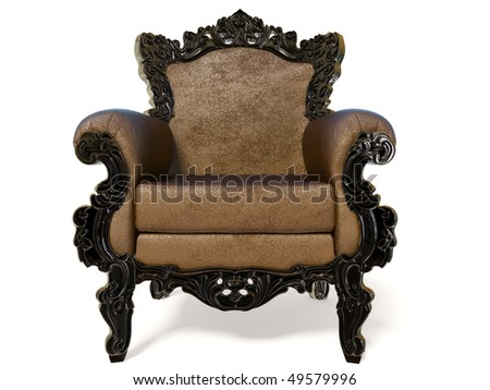 majestic classic armchair on white background isolated