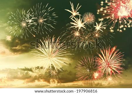 Majestic fireworks in evening sky - stock photo