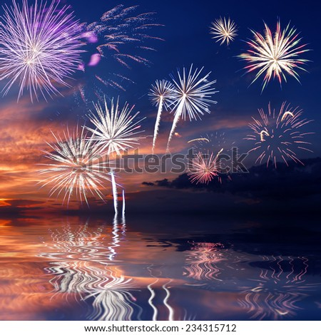 Majestic fireworks in evening sky