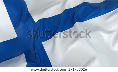 Majestic Flag of Finland - stock photo