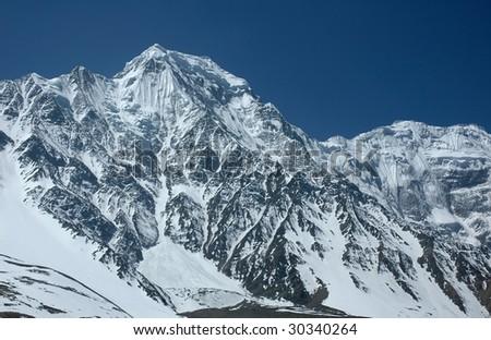 Majestic Himalayan range in the Annapurna region. - stock photo