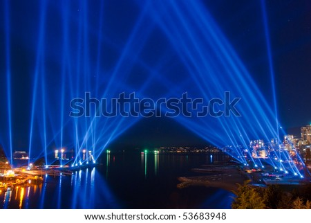 Majestic light beam show in Vancouver, Canada. - stock photo