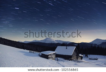 Majestic Milky Way in the winter mountains landscape