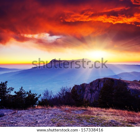 Majestic morning mountain landscape. Dramatic overcast sky. Crimea, Ukraine, Europe. Beauty world. - stock photo