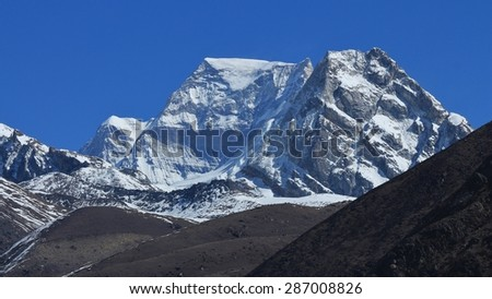 Majestic mountain Hungchhi, high mountain in the Everest Region.