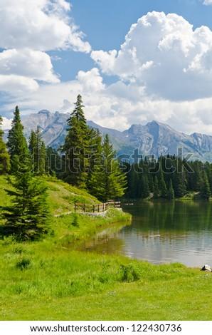 Majestic mountain lake in Canada. - stock photo