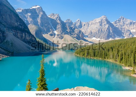 Majestic mountain lake in Canada. - stock photo