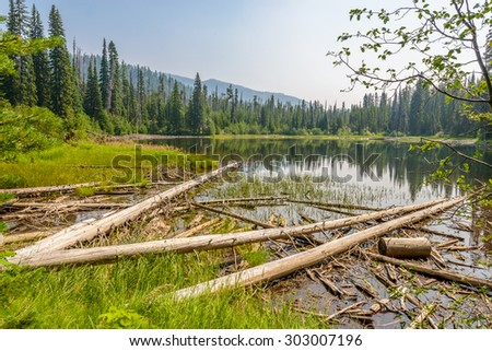 Majestic mountain lake in Canada. Lightning Lake in Manning Park in British Columbia. Lake Trail View. - stock photo