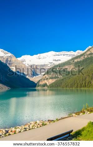 Majestic mountain lake in Canada. Louise Lake view in Banff, Alberta, Canada. Rocky Mountains. - stock photo