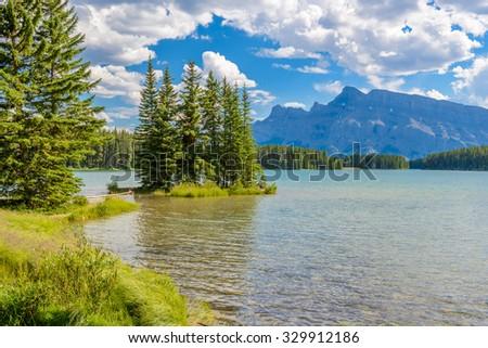Majestic mountain lake in Canada. Two Jacks Lake in Banff, Canada. - stock photo