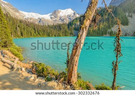 Majestic mountain lake in Canada. Upper Joffre Lake Trail View. - stock photo