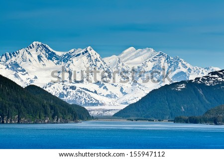 Majestic mountains and extreme wilderness along the Inside Passage - stock photo