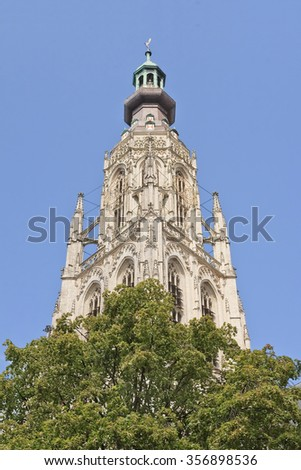 Majestic ornate cathedral at the old market, Breda, Netherlands - stock photo