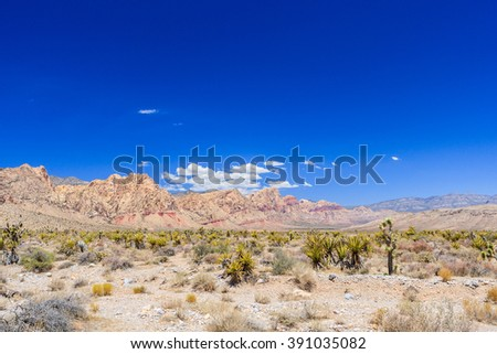 Majestic sandstone escarpment dominates the Red Rock Canyon National Conservation Area. Narrow canyons along the escarpment are popular day-hike destinations. - stock photo