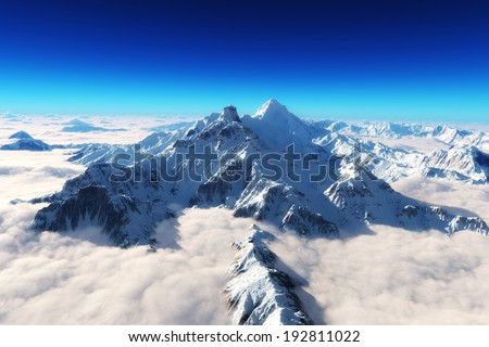 Majestic snow covered mountains background. - stock photo