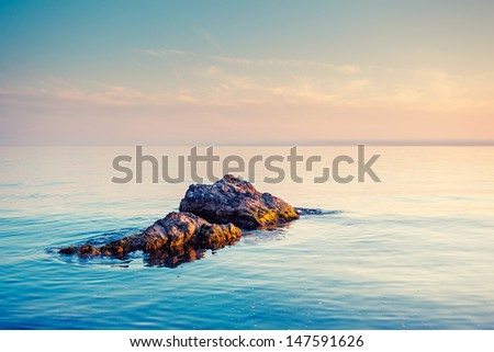 Majestic summer sunset over the sea. Crimea, Ukraine, Europe. Beauty world. - stock photo