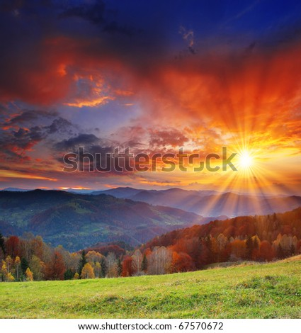 Majestic sunrise in the mountains landscape. HDR image - stock photo
