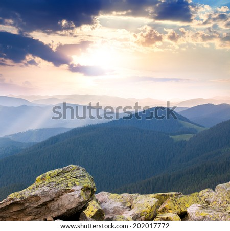 majestic Sunrise over the mountains  with sunbeams, Carpathians, Europe - stock photo