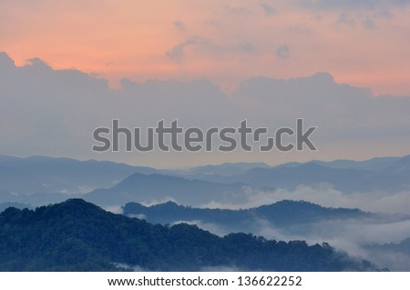 Majestic sunset in the mountains landscape. Beauty world. Thailand