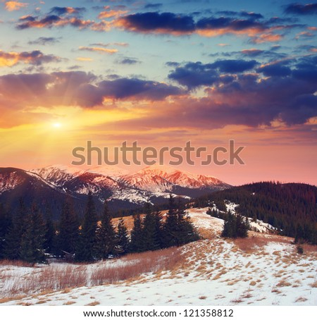 Majestic sunset in the mountains landscape. Dramatic sky. Carpathian, Ukraine. - stock photo