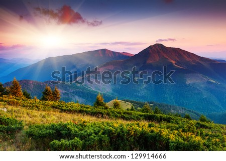 Majestic sunset in the mountains landscape. Transylvania, Carpathian, Ukraine. - stock photo