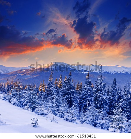 majestic sunset in the winter mountains landscape - stock photo