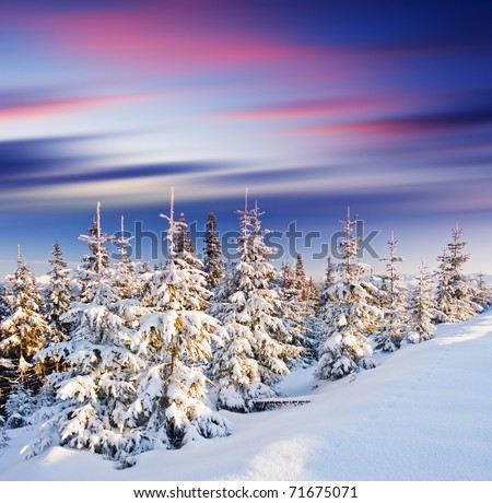 Majestic sunset in the winter mountains landscape. HDR image - stock photo