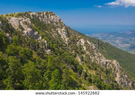 majestic sylvan mountain ridhe - stock photo