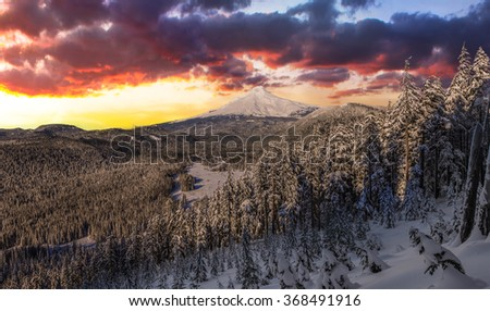 Majestic View of Mt. Hood on a stormy evening during the Winter months. - stock photo