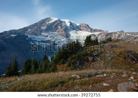 Majestic view of Mt Rainier - stock photo