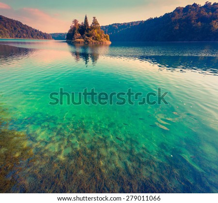 Majestic view of the Plitvice Lakes National Park. Croatia. Europe. Lomography stylization and instagram toning effect - stock photo
