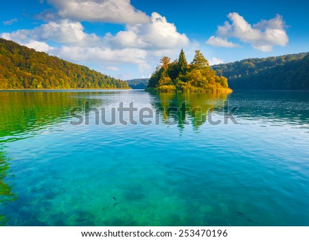 Majestic view of the Plitvice Lakes National Park. Forest glowing by sunlight. Croatia. Europe. - stock photo