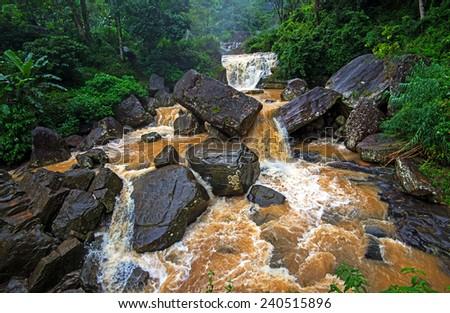Majestic waterfall Ramboda symbol of Sri Lanka - stock photo