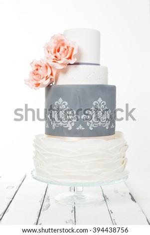 majestic wedding cake in three levels - stock photo