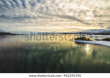 Majestic winter landscape near the lake, Tromso, Norway