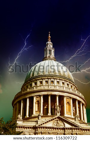 Majesty of St Paul Cathedral in London - UK - stock photo
