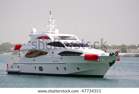 Majesty yacht cursing in Abu Dhabi Ocean, during the first Abu Dhabi Yacht Show - stock photo