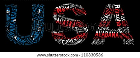 Major cities words cloud of USA on black background - stock photo