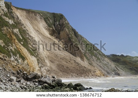 Major cliff collapse landslide with foreground rock fall on the Jurassic coast, Dorset, UK destroying the coastal path and discolouring the sea - stock photo