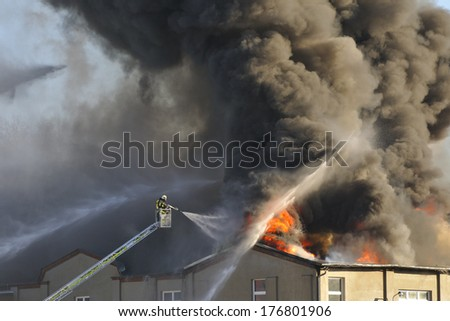 Major fire in a textile factory, in Kirschau. 10/02/2014 - stock photo