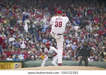 Major League baseball player for the Philadelphia Phillies, #39 Brett Myers pitching during March 31, 2008 opening game against Washington Nationals, at Citizens Bank Park - stock photo