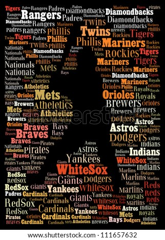 Major league baseball teams: text graphics